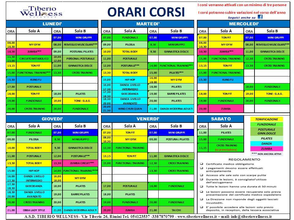 Orario dei corsi della palestra Tiberio Wellness di Rimini
